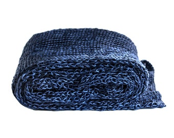 handknit scarf in night blue silk lace  / URS // super long  unisex  lightweight   blue  luxury
