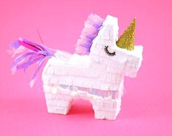 Unicorn Party Favors, (3) Mini Unicorn Pinatas, Unicorn Party Decorations, Unicorn Birthday, Bridesmaid Proposal, Baby Unicorn - Set of 3
