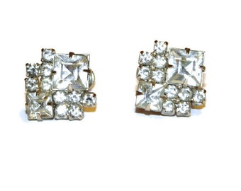 Vintage Deco White Rhinestone Screw Back Earrings