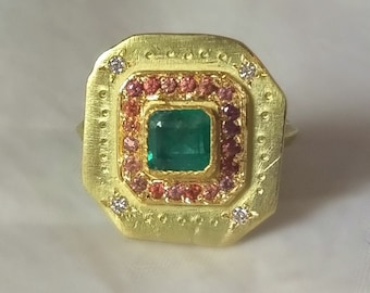 Emerald Ring,  Solid 18 kt gold Emerald, Sapphire and diamond Statement ring, ancient gemstone diamond multi stone ring