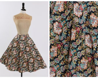 Vintage original 1950s 50s novelty floral print circle skirt Marks and Spencer by St Michael UK 12 14 US 8 10 M