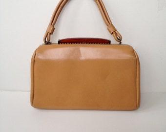 Vintage Faux Leather Tan Satchel