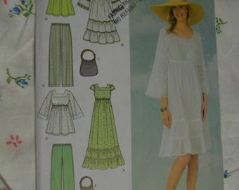 Simplicity 4602 Misses Pullover Dress in Two Lengths or Tunic Pull on Pants and Bag Sewing Pattern - UNCUT - Size 8 10 12 14