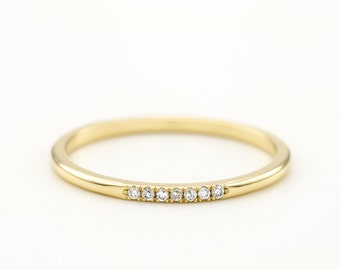 Thin Pave Diamond Wedding Band Ring Thin Dainty Delicate Simple Rose White yellow Gold Eternity Bridal Stackable Multi Ring