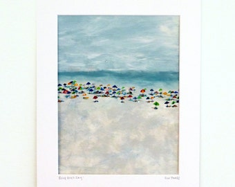 Busy Beach Day Print 8.5x11 signed print in 11x14 mat