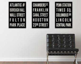NEW YORK CITY Subway Sign Prints. Bus Scrolls (Collection of 3)