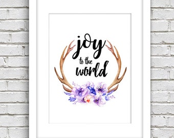 Happy new year printable, Holiday Art Decor, Christmas wall art, printable winter decor holiday art decoration print Joy to the world
