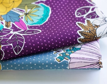 "GARDEN SECRETS Bouquet fabric in Purple. POPLIN (not voile). Half Metre/19.5"" Organic cotton - Cloud 9 - Sarah Watson"