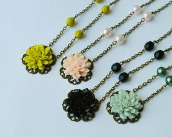 Flower Necklace Large Chrysanthemum Victorian Style Antiqued Brass Pick Your Custom Color