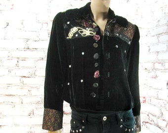 Fashion jacket, women's  blazer, cropped jacket ,  Black jacket,  feminine clothing,  one of a kind jacket,  Size M ,# 25