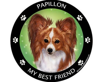 Papillon Red My Best Friend Dog Magnet