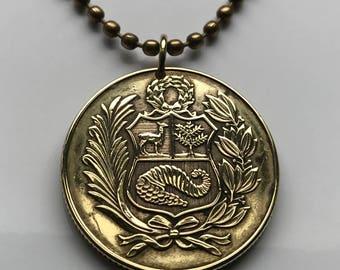 1980 or 1981 Peru 50 soles coin pendant Peruvian escudo llama alpaca vicuña Cuzco Lima Machupichu cornucopia Inca Nazca   necklace n001982