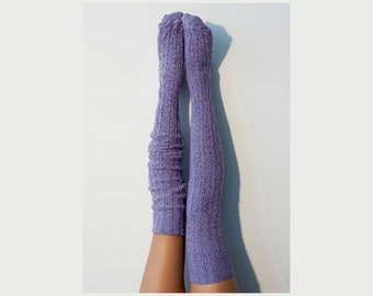 Thigh High Socks, Purple Sweater Socks, Women's Long Over the Knee Socks, Knitted Boot Socks, OTK Thigh Highs, Stockings, PM-088O