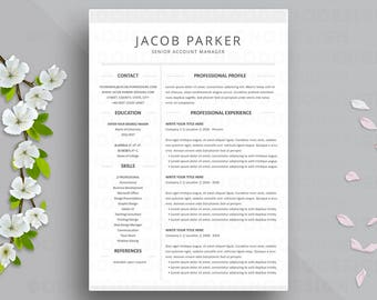 Two column resume etsy for Three column resume template