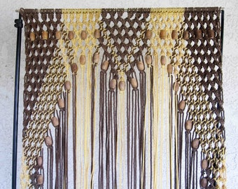 Vintage Macrame Curtain. Room Divider. Door Curtain. Circa 1960's - 1970's.