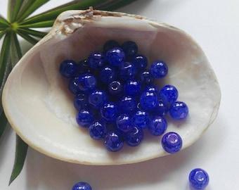 40 Blue Glass Round Beads 6mm