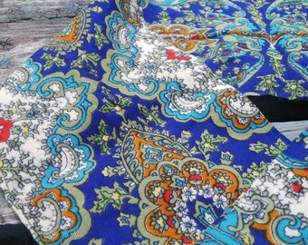 Blue paisley russian scarf, paisley scarf, Turkish scarf, blue scarf,