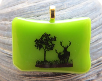 0079 - Green Fused Glass Pendant with Elk