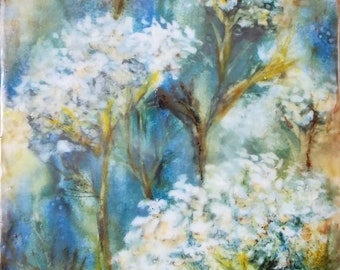 Original encaustic painting - Yarrow, mixed media, encaustic art
