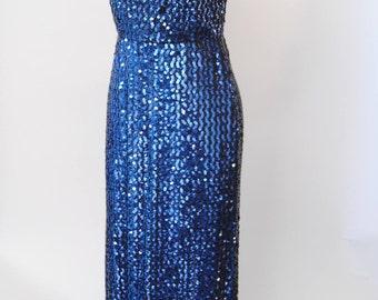 Vintage Sequin Dress 70s Glam Disco Halter Sleeveless Cobalt Sequin Cocktail Party Dress 50s Style Maxi Dress M L