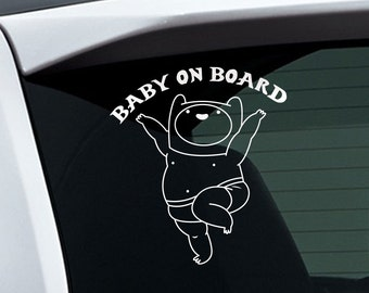 Adventure Time Baby on Board Finn White Vinyl Sticker for Indoor and Outdoor
