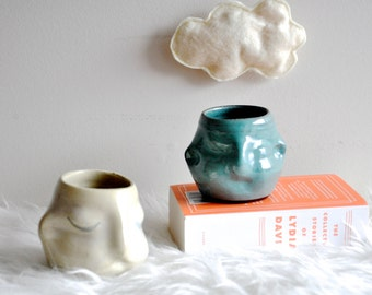 turquoise moonface cup, handmade wheelthrown pottery