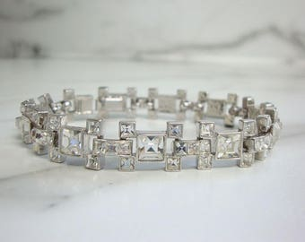 Vintage 1960s Rhinestone Bracelet, French Cut Crystal Link, Vintage Rhinestone Wedding Jewelry