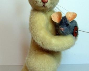 Kater Mikesh mit seiner Maus zum selber nähen mit Schnittmuster, eBook, PDF  ca. 15 cm by Furry Critters