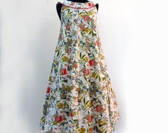 """Mid long sections of white cotton printed dress """"paradise"""", sleeveless, round neck"""