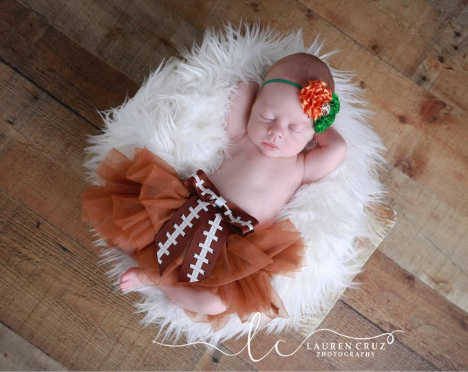 Brown Tulle Bloomers with a Football Ribbon Bow AND/OR University of Miami Football Headband, newborn prop, Lil Miss Sweet Pea