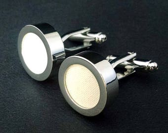 Ivory cream mens cuff links - 2nd cotton anniversary gifts for men