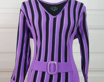 European Vintage Knit Top, Purple Black Striped Pullover Jumper Top, 1990s Big Buckle Vertical Stripes Top: Size 12 US, Size 16 UK