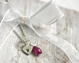 Tiny Heart  Necklace - Pink Sapphire Necklace- Silver Necklace -Thin Chain Choker - Monogram Necklace-  Personalized Jewelry