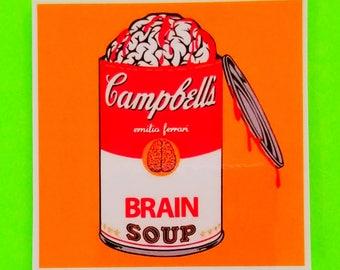 Campbells Brain Soup Andy Warhol Foundation Parody Bright Pop Art Classic Bleeding Zombie Waterproof Vinyl Sticker