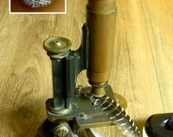 Amazing Victorian Era Brass Microscope. Very Finely Made English Instrument in Excellent Working Condition with Three Objective Lenses.