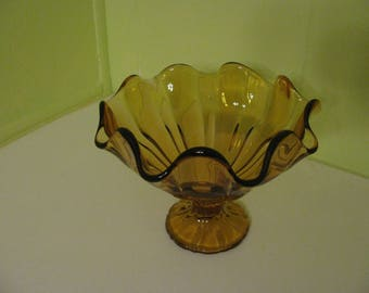 Amber Glass Footed Dish With Ruffled Edge