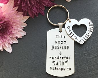 Personalised Christmas Gift for Dad - Personalised Keyring - Gift for Dad - Hand Stamped Keyring - Gift for Him - Australia
