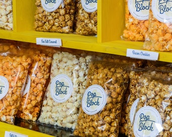 Over 50 Flavors!Gourmet Popcorn  Each popped kernel is a delicious, wholesome snack that's positively bursting with flavor.