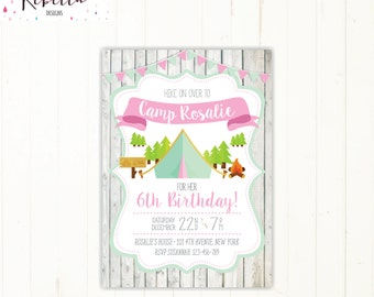 camping invitation camping birthday invitation girl sleepover invitation sleep over invitation camp out invitation printable campout 267