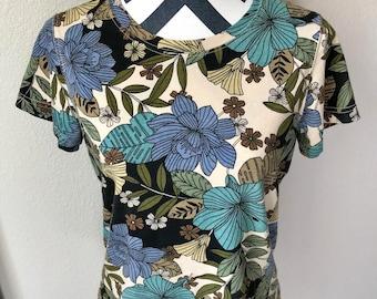 Vintage 1990s Blue Psychedelic Tropical Floral Trippy Hippie Bohemian Print Top Sz S