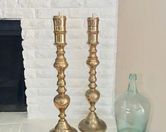 vintage pair brass large tall candlestick 28 inch mantel altar decor pillar candle holder