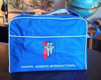 Vintage Travel Agents International Blue Canvas Bag