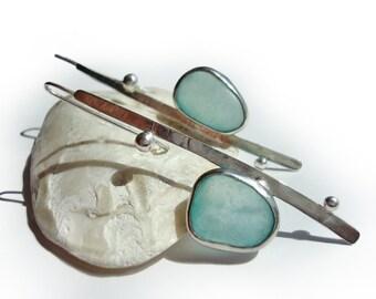 SALE 20% PRICE OFF. Sterling Silver Earrings. Sea glass Earrings. Ocean Green Genuine Sea Glass. Silver Long Earrings. Handmade Earrings.