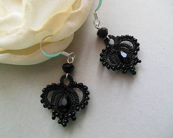 Delicat black  earrings, handmade lace jewelry, tatted  lace earrings, boho shic jewelry, frivolite accessories, gift for her