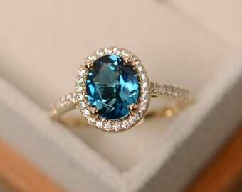 London blue topaz ring, yellow gold ring, halo engagement ring, 14k gold