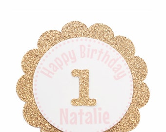 Pink and Gold First Birthday Cupcake Toppers - Personalized Cupcake Toppers - Happy Birthday