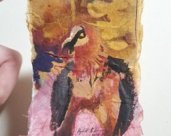 "Original Collage ACEO ""Bearded Vulture"""