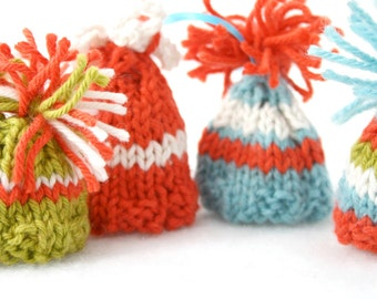 4 Mod Miniature Hat Ornaments- Tiny Striped Beanies- Egg Cozies- Made To Order- Aqua, Lime Green, Orange, White- Retro Christmas Decor