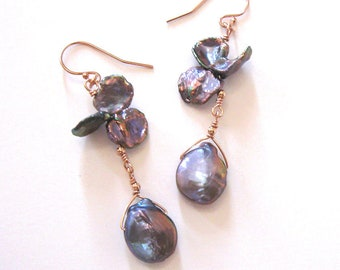 Baroque Pearl and Keshi Earrings in Violet Purple Sunset Colors, Rose Gold Filled Ear Wire Options