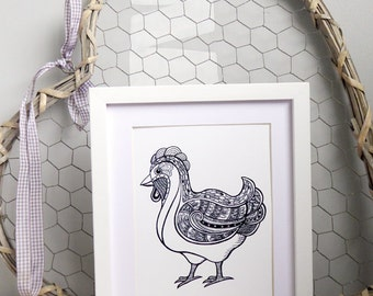 Farm Hen A5 Black and white print